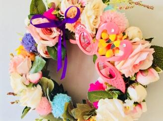 Caravan of Love flower power handmade wreath with flamingoes